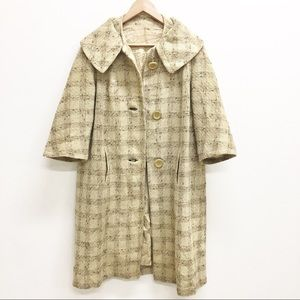 Vintage 50s 60s neutral plaid wool swing coat